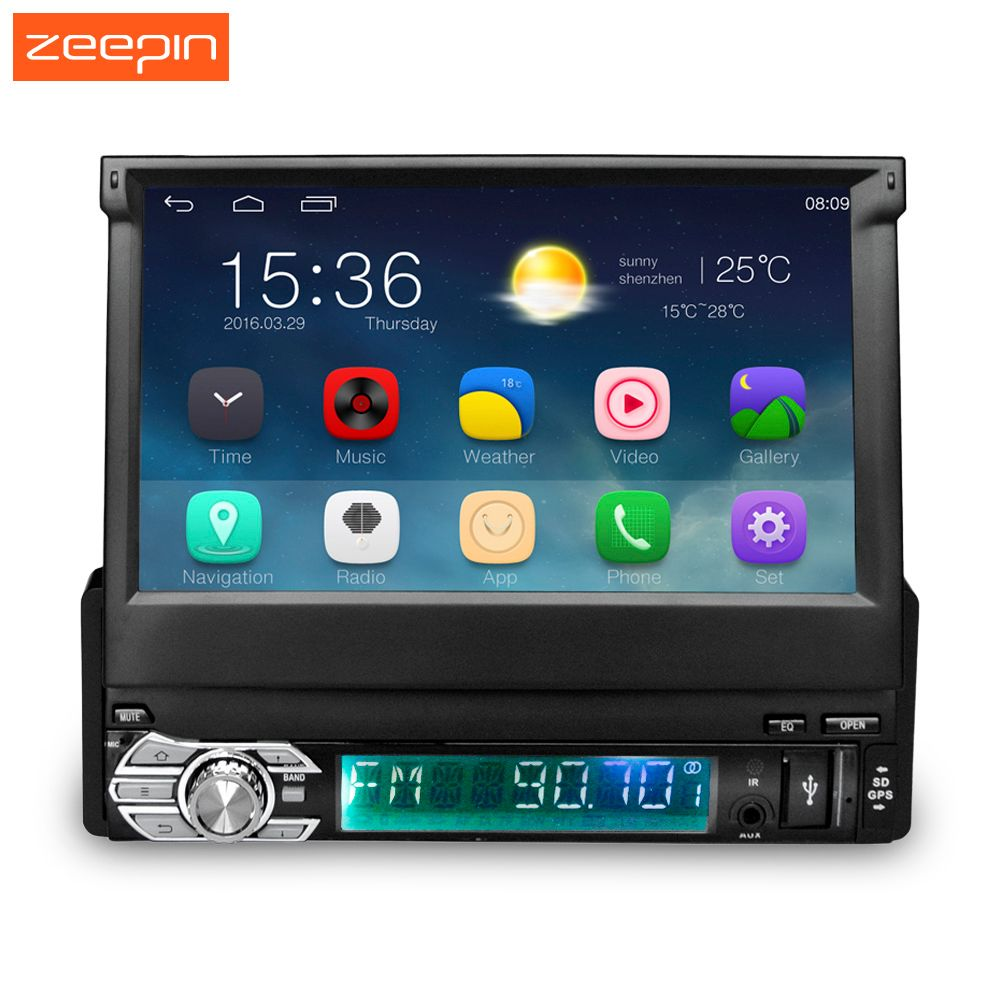 Zeepin 7 inch Car Radio WIFI Bluetooth Car Multimedia Player+GPS Navigation Android 5.1 1 din Retractable Touch Screen 16G ROM
