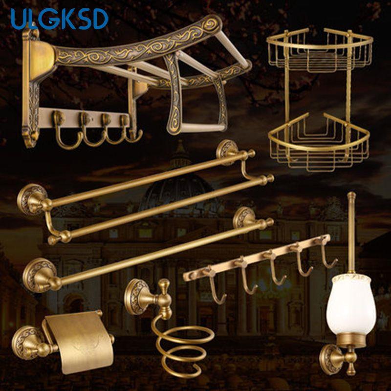 Ulgksd Bathroom Hardware Sets Paper Tissue Holder +towel shelves + toilet brush holder + hair dryer accessory for bath
