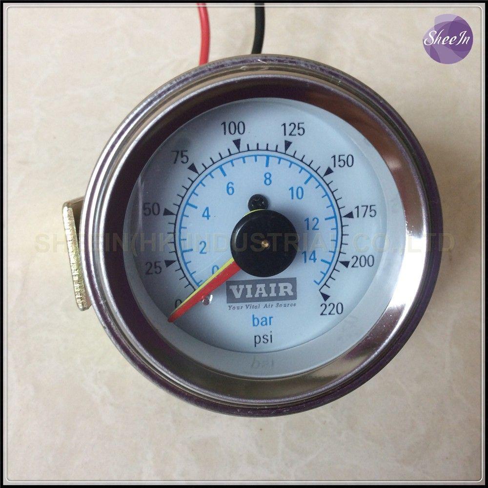 VIAIR Double pointeur manomètre Double aiguilles 0-220PSI visage blanc baromètre pneumatique suspension de tour d'air d'air sac pression