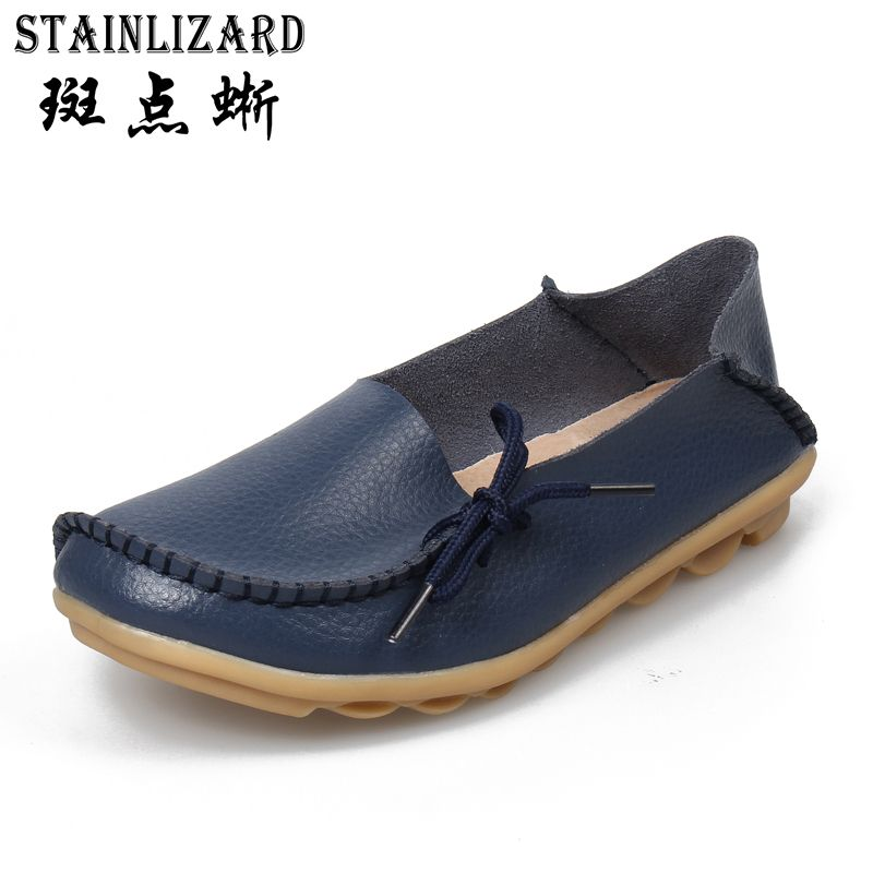 Plus size women shoes fashion soft Leather women flats slip on Autumn women shoes  casual  Comfort loafers Female shoes SDT179