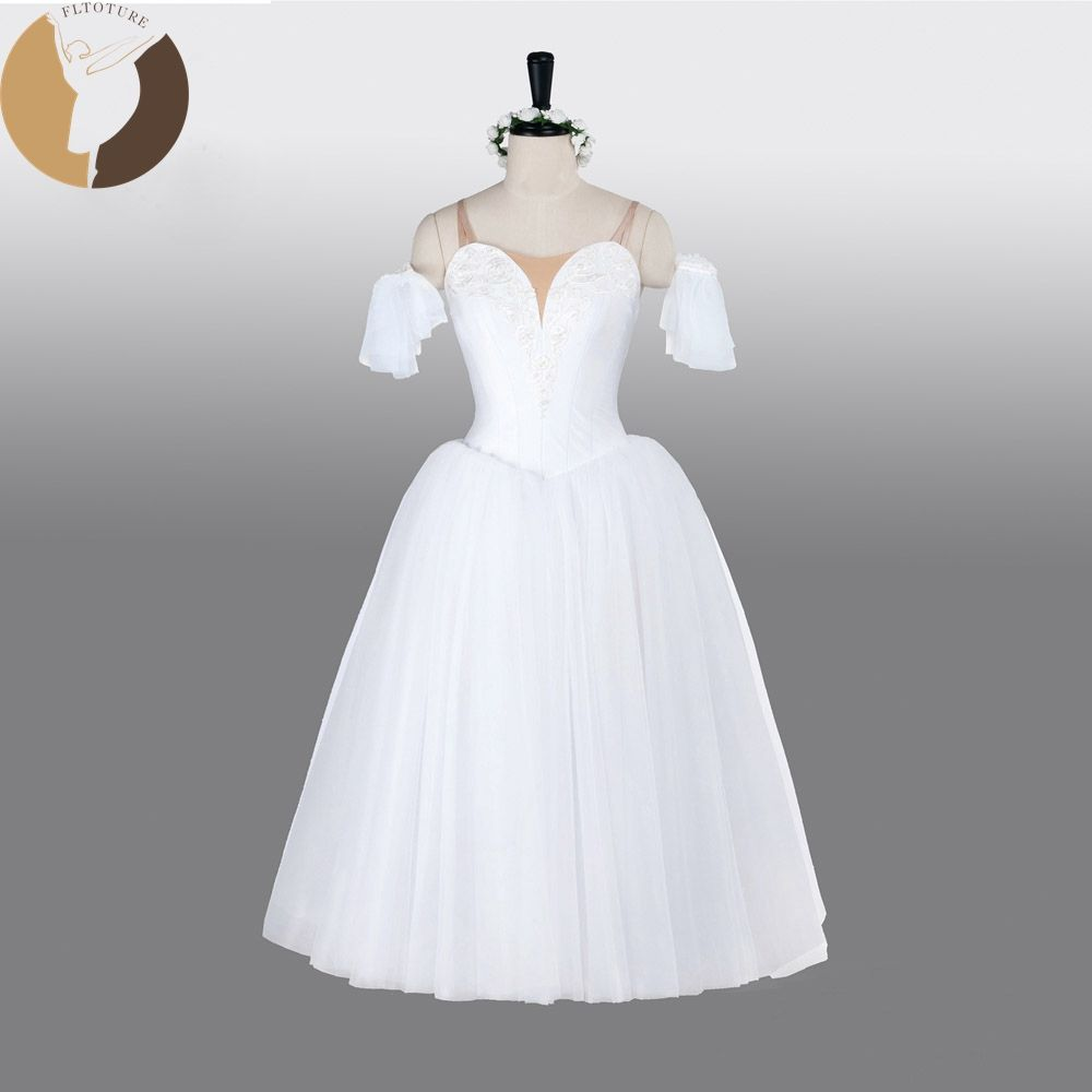 FLTOTURE AT1290Fairy Costumes With Wing Professional Ballet Long Dress La Sylphide Romantic Long Skirts White Soft Tulle Skirt