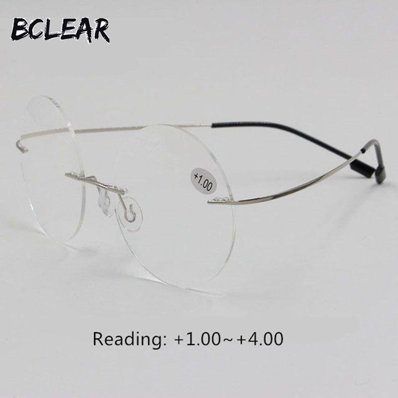 BCLEAR nouveauté rétro ronde sans monture mémoire titane flexible unisexe lunettes mode lecture lunettes hommes femmes + 1.00 ~ + 4.00