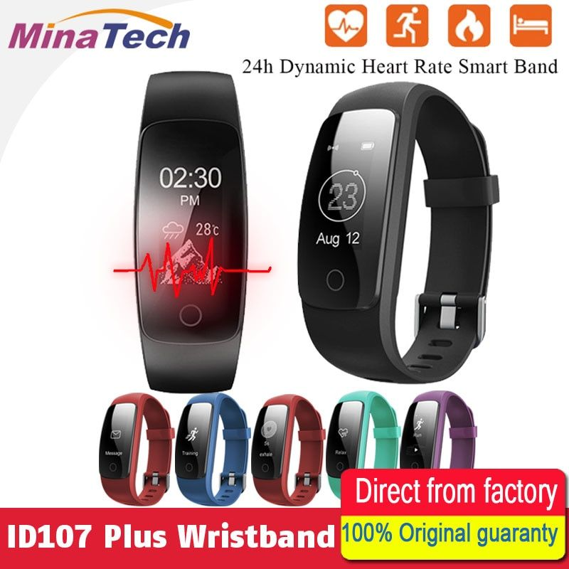 Orginal ID107 Plus HR Smart Heart Rate Bracelet Monitor ID107 Plus Wristband Health Fitness <font><b>Tracking</b></font> For Android iOS Vs MI Band