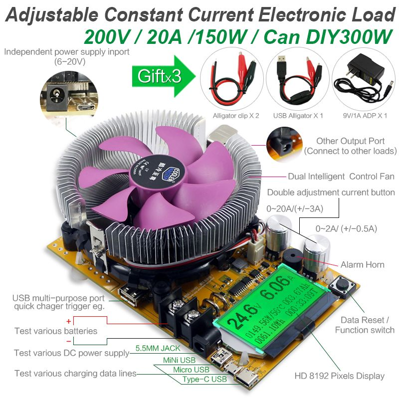 8 in 1 150W usb meter Digital battery capacity tester voltmeter adjustable constant current electronic load charger indicator