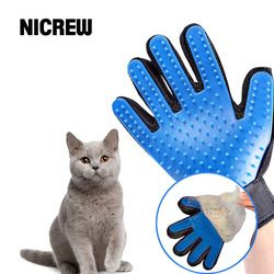 Nicrew Deshedding guante de cepillo para animales suministros gato mascota guantes peine dedo guante para Cat Grooming Pet Supplies limpieza