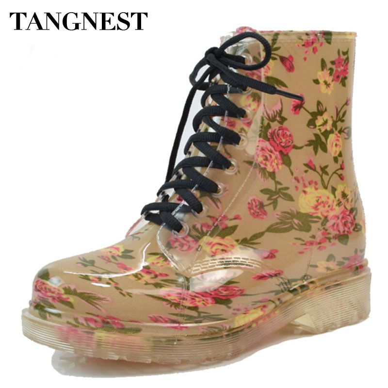 Tangnest 2018 femmes bottes de pluie printemps bout rond chaussures en caoutchouc Floral léopard à lacets bottines femme grande taille 36-40 XWX2327