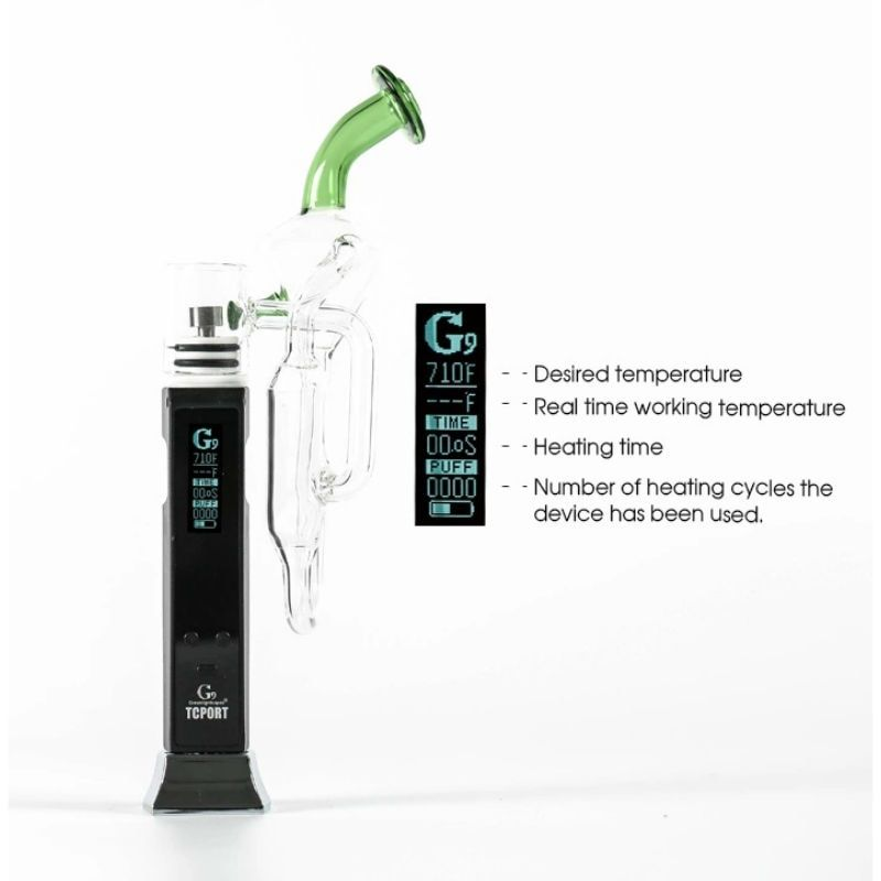 Greenlightvapes G9 TC Port Enail Vaporizer Pen Wax Vape Smoke Dab with Temperature Control Glass Rig e cig Water Dabber Pipe