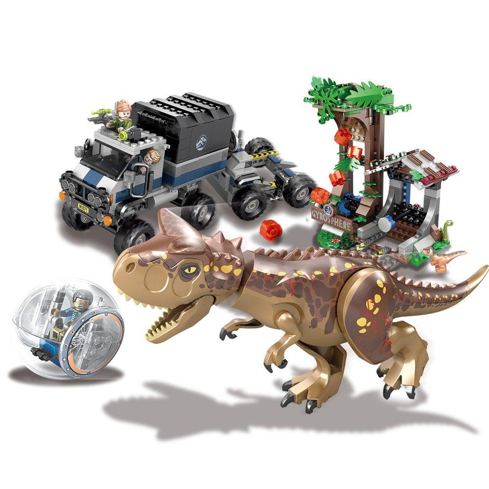 Jurassic World Park Carnotaurus Gyrosphere Escape Building Blocks Kit Bricks Classic Movie Model Kids Toys Gift Compatible Legoe