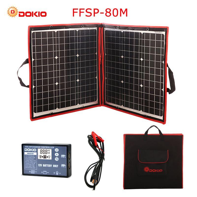 Dokio 80 W (40*2 stücke) 18 V Flexible Faltbare Solar Panel + 12 V/24 V Solar Controller Tragbare Solar Panel Für Camping/ reise