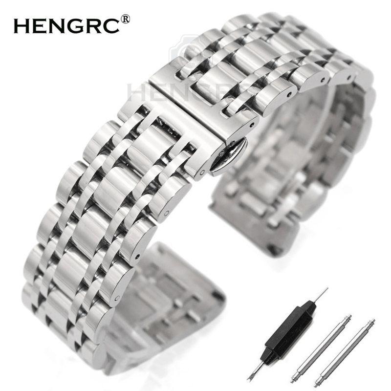 Bracelet En Acier inoxydable Bracelet 20mm 22mm Hommes En Métal Poli Montre de Courroie De Bande Horloges Accessoires