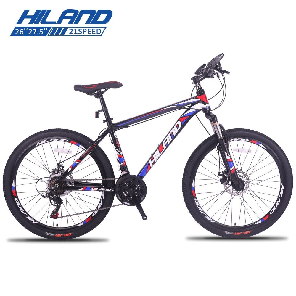 HILAND 21 Speed Aluminum Alloy Mountain Bike,Adult Suspension Bicycle,with Shimano Tourney and Microshift Shifter Free Shipping