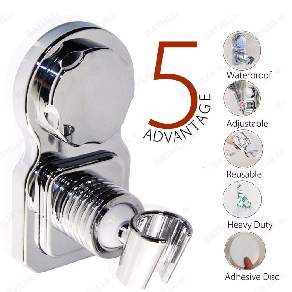 Support de pommeau de douche de salle de bains mobile ABS plastique ventouse absorber support de pommeau de douche chromé support de pomme de douche mural