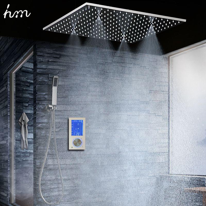 Bad Dusche Kopf mit 3 Möglichkeiten Intelligente Digital Verborgen Wasserhahn 20 SPA Nebel Niederschläge Thermostat Set Touch Panel Mixer