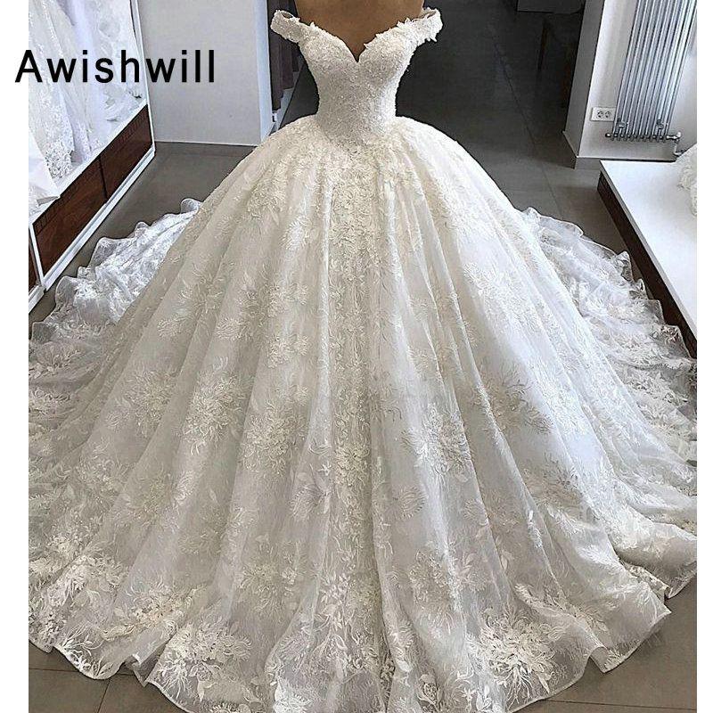 Vestido de Noiva Wunderschöne Hochzeit Kleider 2019 Puffy Cap Sleeve Ballkleid Arabisch Spitze Braut Hochzeit Kleid Vintage