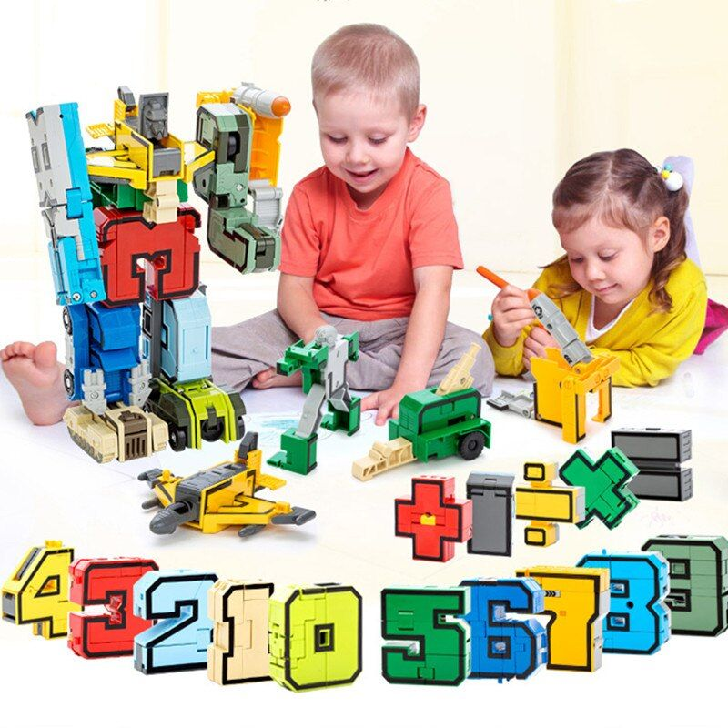 15 pièces Transformation nombre Robot chiffres ville briques créatives déformation blocs de construction début jouets éducatifs pour les enfants
