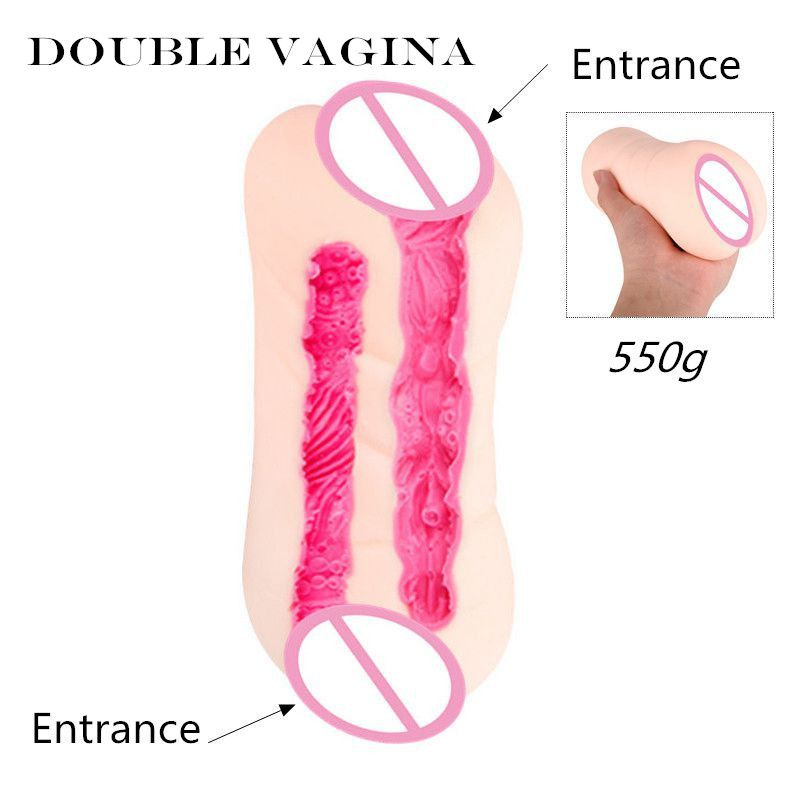 MizzZee Double Vaginas Male Masturbators Sex Toy Two Realistic Tunnels Pussy Sex Products For Women TPE Flexible Soft
