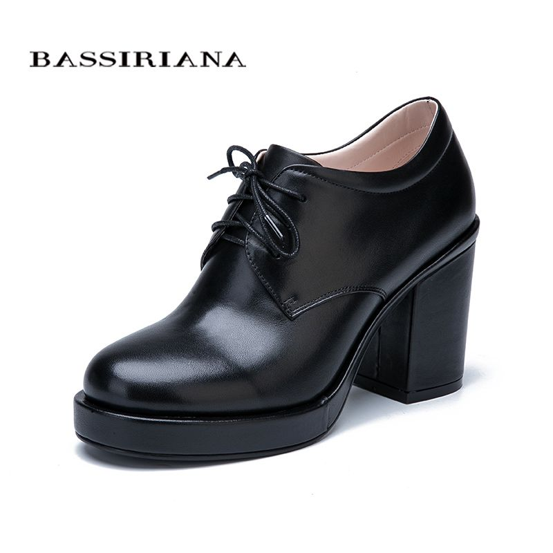 BASSIRIANA New Fashion 2017 Genuine leather suede laces shoes woman ankle boots high heels round toe Autumn 35-40 size black