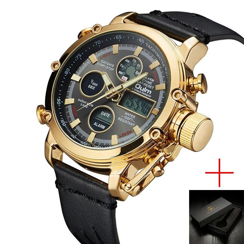 Oulm Quartz Sport Watches Men Luxury Analog Digital Dual Display Watch Male Clock Genuine Leather LED Waterproof Wristwatch Man