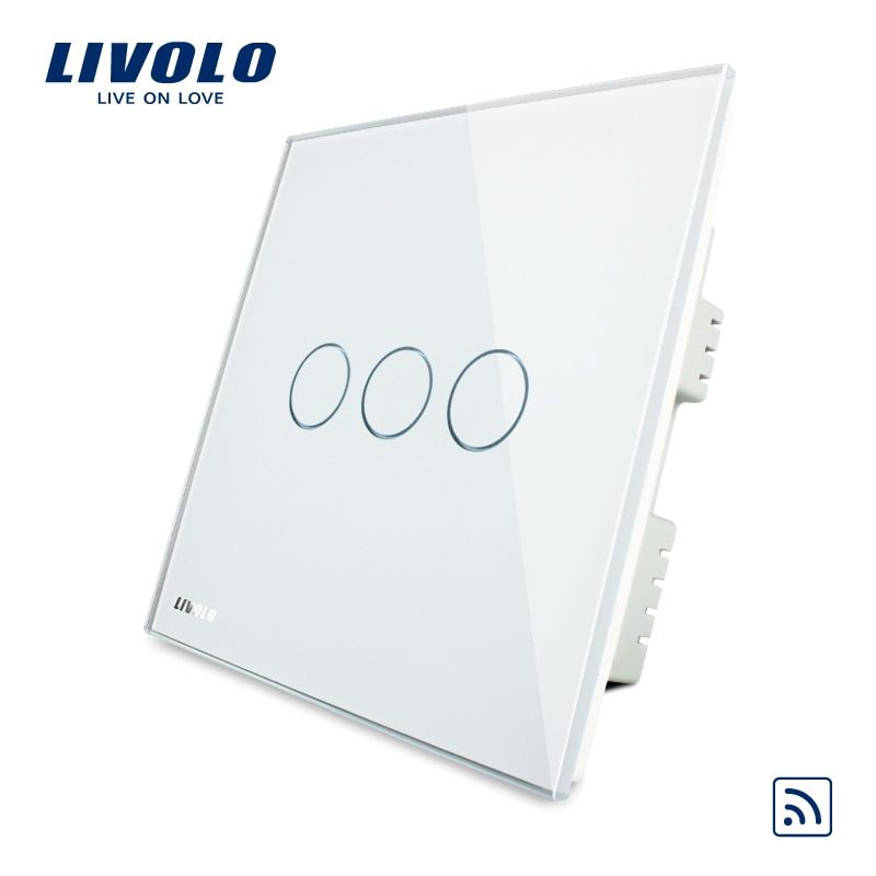 Livolo UK standard Wireless Remote Touch Switch ,AC 220-250V VL-C303R-61,Ivory White Crystal Glass Panel, No remote controller