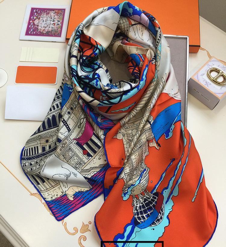 Шелковый шарф Для женщин 16 момме леди Элитный бренд Шарфы для женщин дизайнер шарф ручной работы Хемминг шалей воротник оголовье 140*140 см