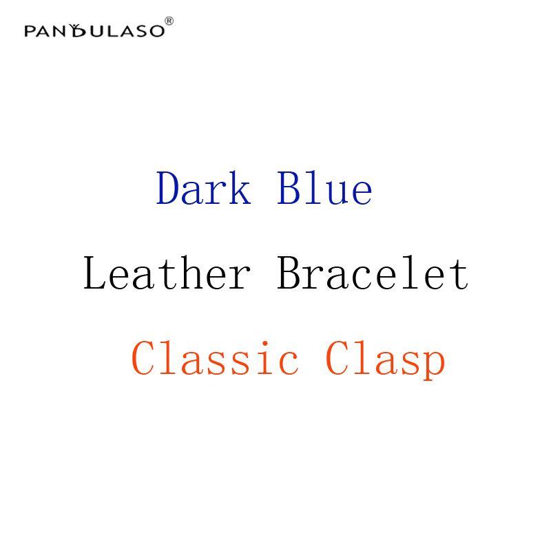 Pandulaso темно-синий Кожаные браслеты с серебряной классической застежкой DIY стартер Браслеты для Для женщин Бусины серебро 925 ювелирные издел...