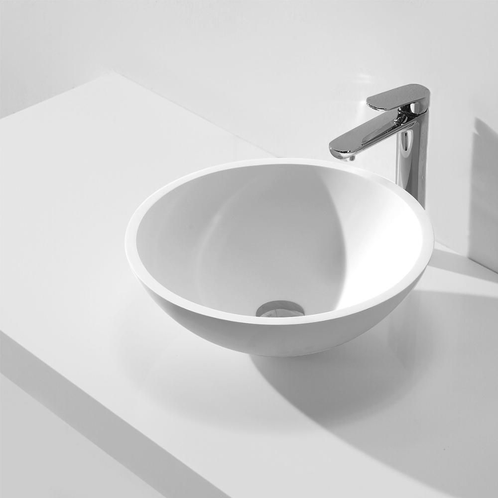 KKR solid surface artificial stone matt white round countertop wash basin KKR-1513