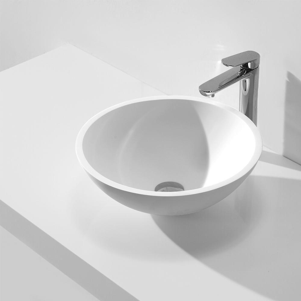 KKR solid surface artificial stone matt white round countertop wash basin KKR-1513