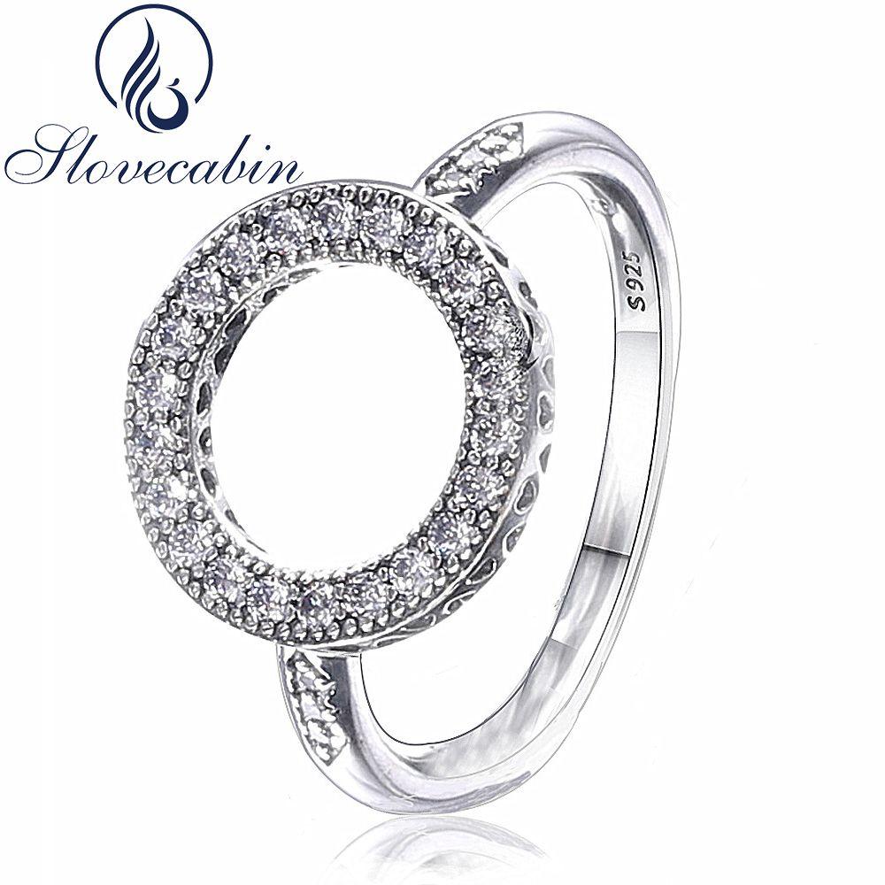 Slovecabin Origianl 925 argent amour coeurs bagues de fiançailles pour les femmes Compatible avec les bijoux de mode cristal femelle anneaux de fête