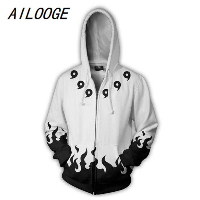 AILOOGE fashion Cool sweatshirt Hoodies Men women 3D print SIX PATHS WHITE Naruto Tee hot Style Streetwear Long sleeve clothing