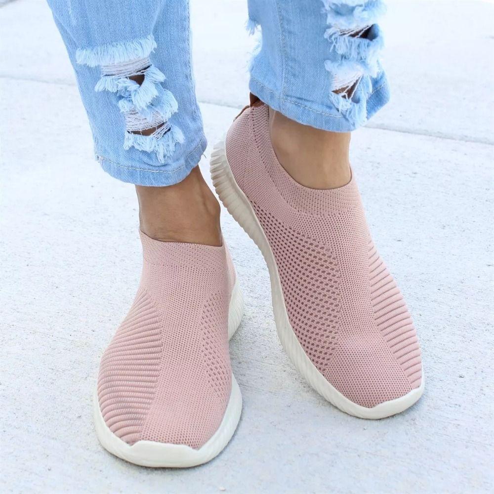 Femmes chaussures grande taille 43 femmes vulcaniser chaussures mode sans lacet chaussette chaussures femme Air maille baskets plat décontracté Tenis Feminino