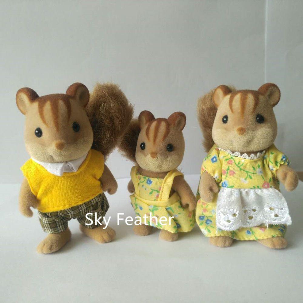 Écureuil famille mini taille Sylvanian Famille Chiffres Anime de Bande Dessinée chiffres poupées Jouets Enfant Jouets cadeau