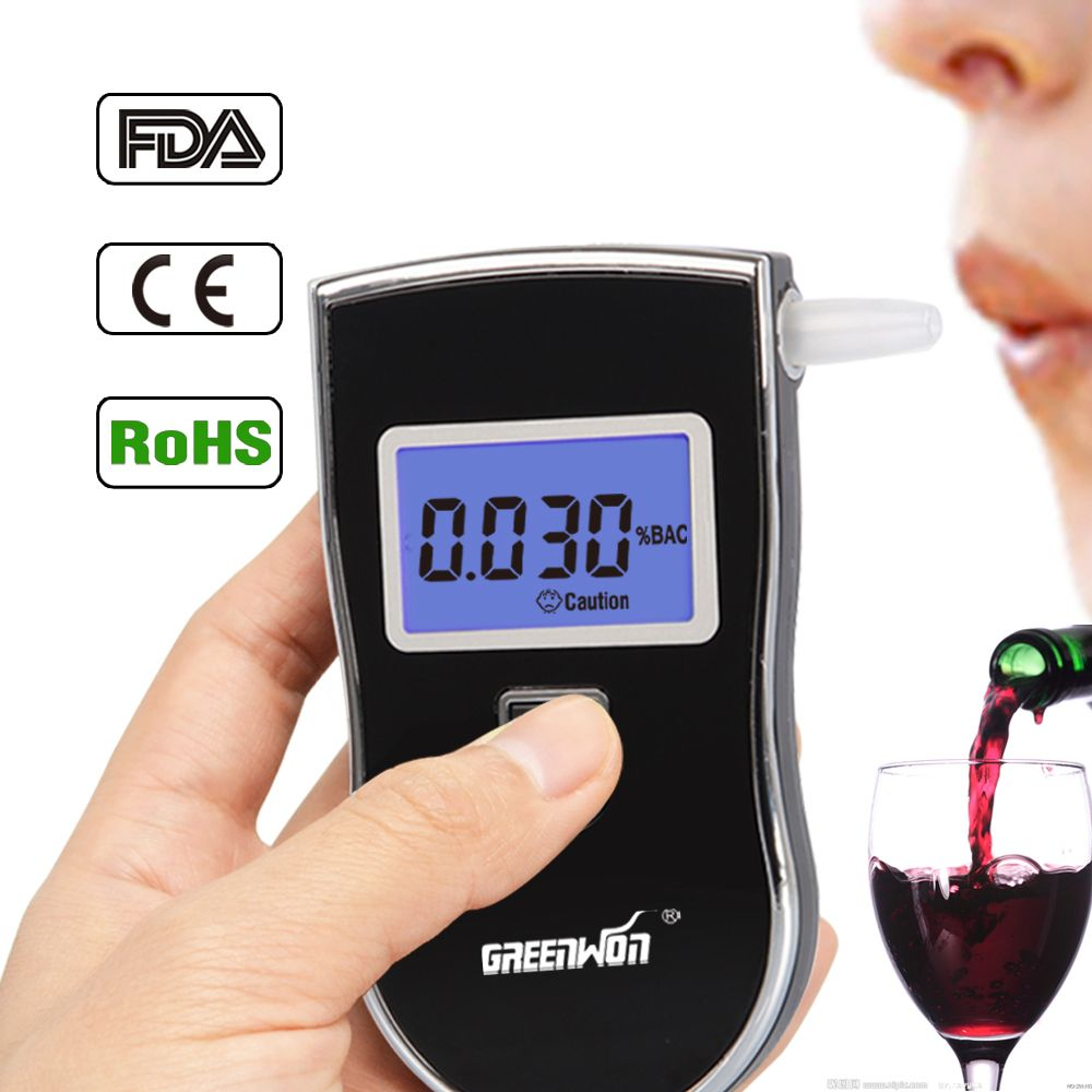 2016Free shipping Professional Police Digital Breath Alcohol Tester Breathalyzer AT818 Dropshipping