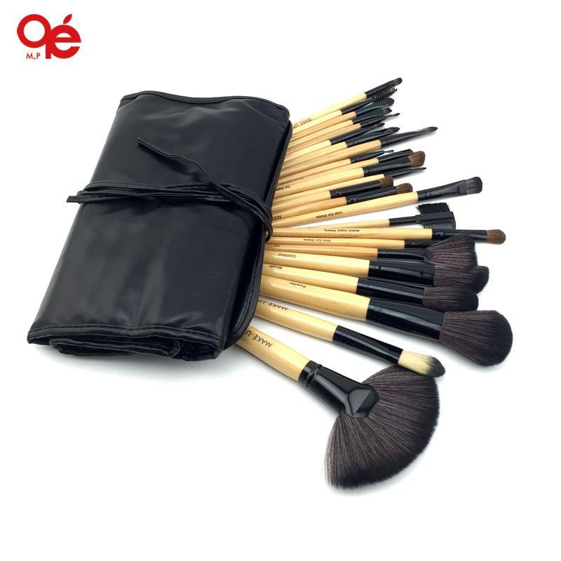 CHAUDE!! Professionnel 24 pcs maquillage pinceaux Outils Make-up Kit de Toilette Laine Marque Make Up Brush Set Case Livraison gratuite
