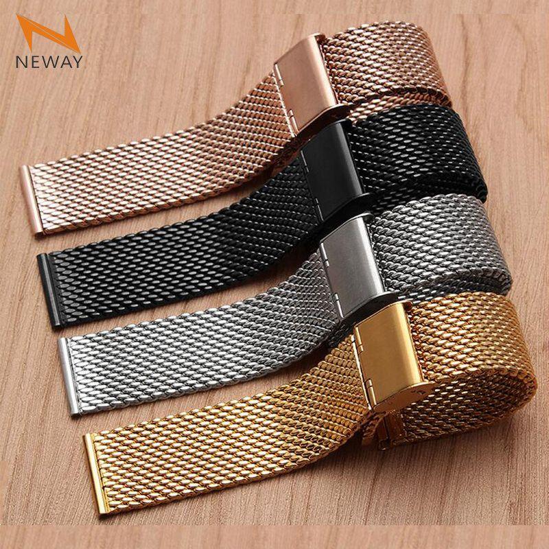 18mm 20mm 22mm 24mm Nouveau Bracelet En Acier Inoxydable Bracelet Pour Apple Montre de Courroie De Bande 38mm 42mm iWatch Pour Samsung Vitesse S3 Bande