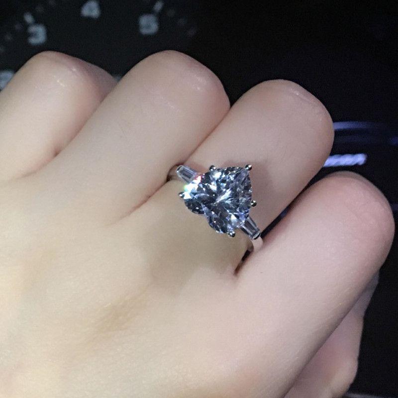 Серебряное кольцо 10 мм в форме сердца кубический циркон любовь обручальное кольца обручальные кольца модные женские изделия BAGUE Femme