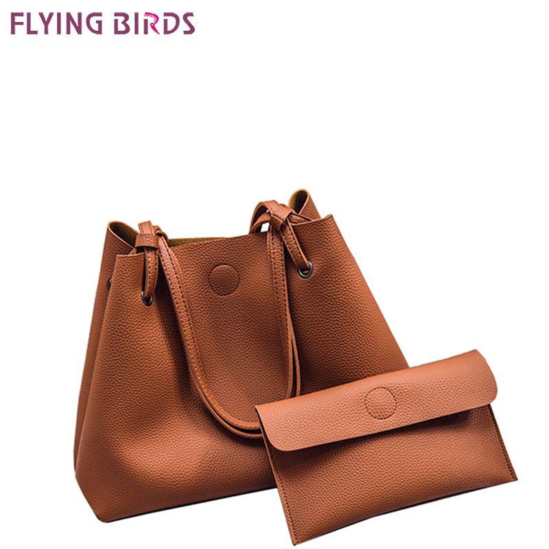 FLYING BIRDS Famous Brand Composite Bag 2pcs Set Women Handbags Bolsas High Quality Women's Messenger Bags Designer Tote Fashion