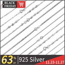 WK Real Pure 925 Sterling Silver Chain Necklace For Women Female Girls 16 18 Inch Snake Rope Link Chain Jewelry Wholesale Gift