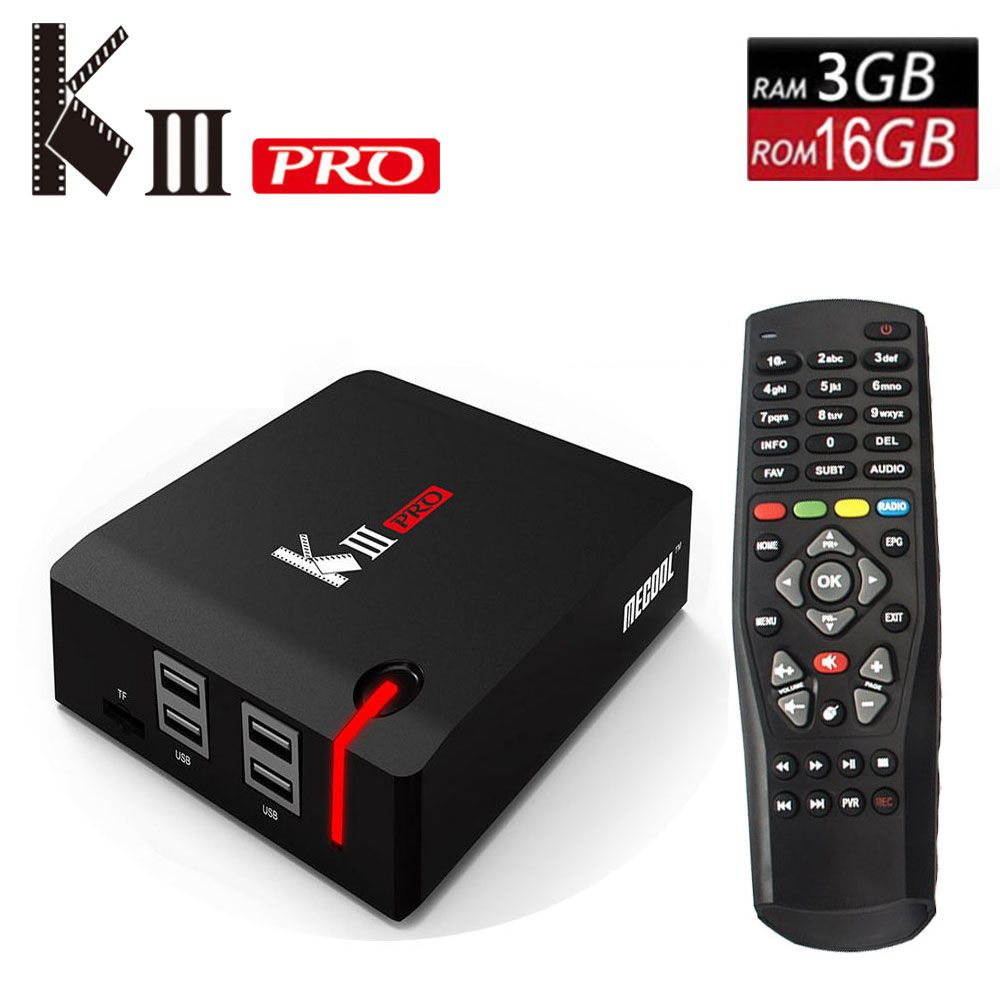 Original MECOOL KIII PRO Android 7.1 TV Box DVB T2 DVB S2 DVB C 3G/16G Smart Media Player Amlogic S912 Octa Core 2.4G/5G Wifi 4K