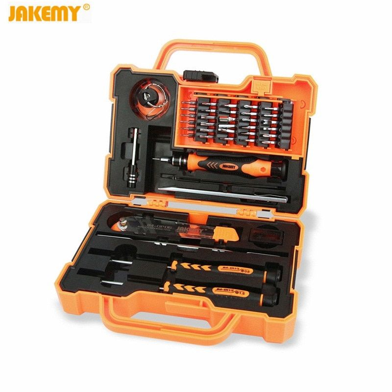 JAKEMY 45 in 1 Precision Screwdriver Bit hand tools Box Set JM-8139 Multi Bit Screwdrivers Tweezers Repair Tool for iPhone PC