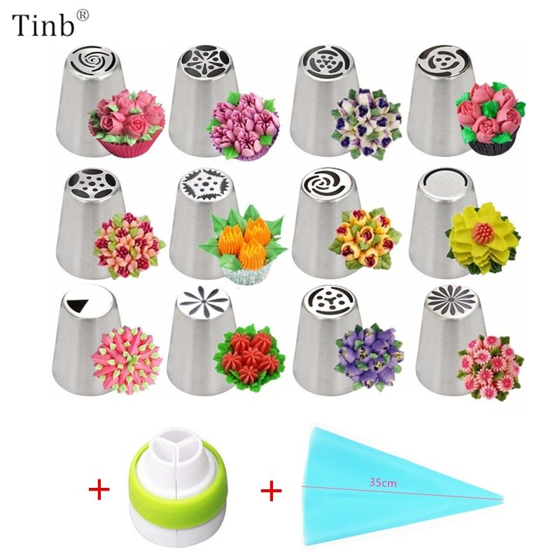 14pc/Set Russian Tulip Icing Piping Nozzles Stainless Steel Flower Cream Pastry Tips Nozzles Bag Cupcake Cake Decorating Tools