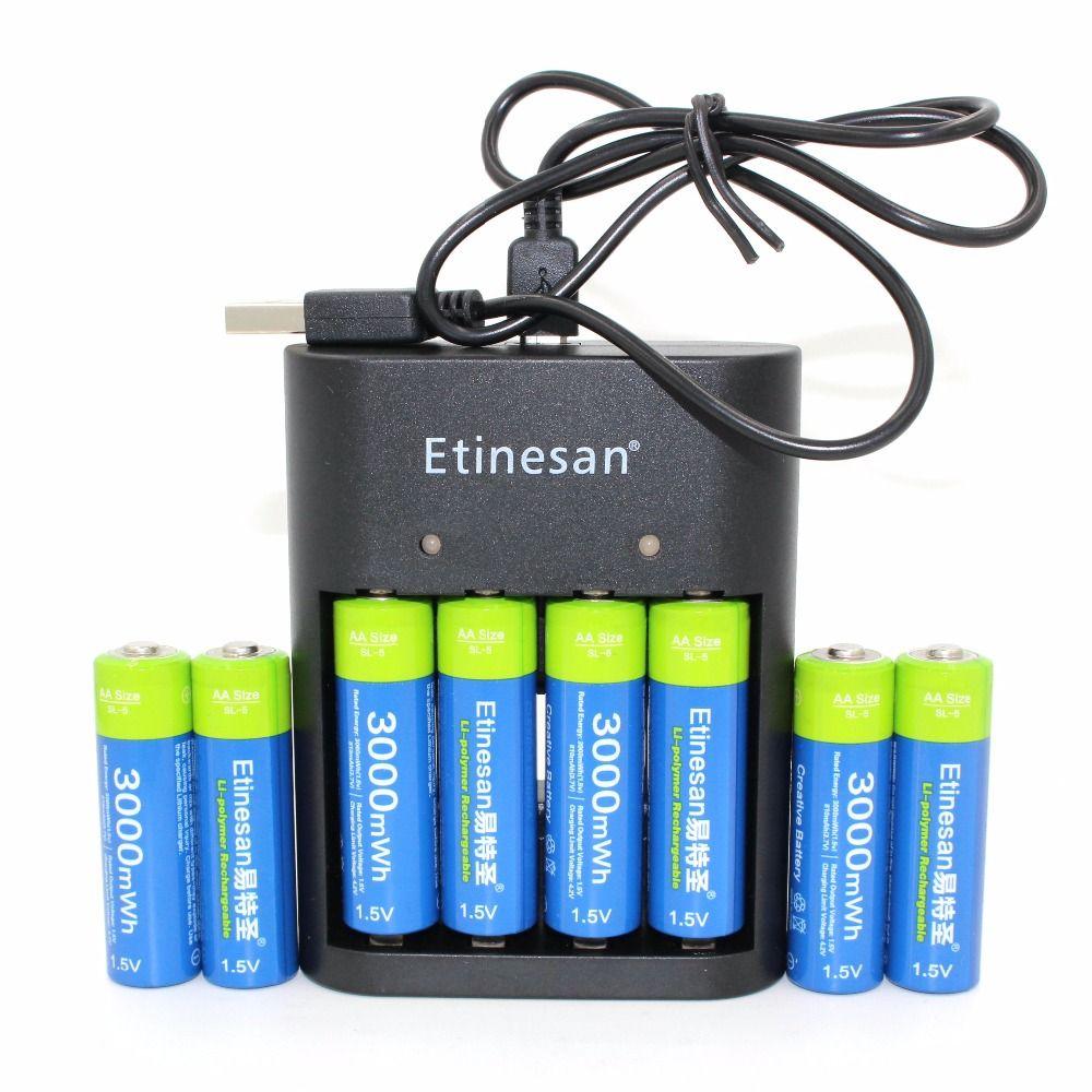 8 pcs 1.5 v 3000mWh Etinesan AA Li-polymère li-ion polymère au lithium rechargeable batterie + USB AA AAA Chargeur!