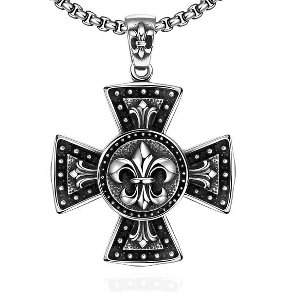 stainless steel necklaces 925 silver jewelry Big cross pendant necklace link Maya silver jewelry cross for men fashion choker