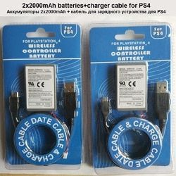 2Pcs/Lot 2000mAh Pack +USB Charger Cable for PS4 PlayStatoin4 Dualshock4 Wireless controller Rechargeable Batteries Sony Gamepad