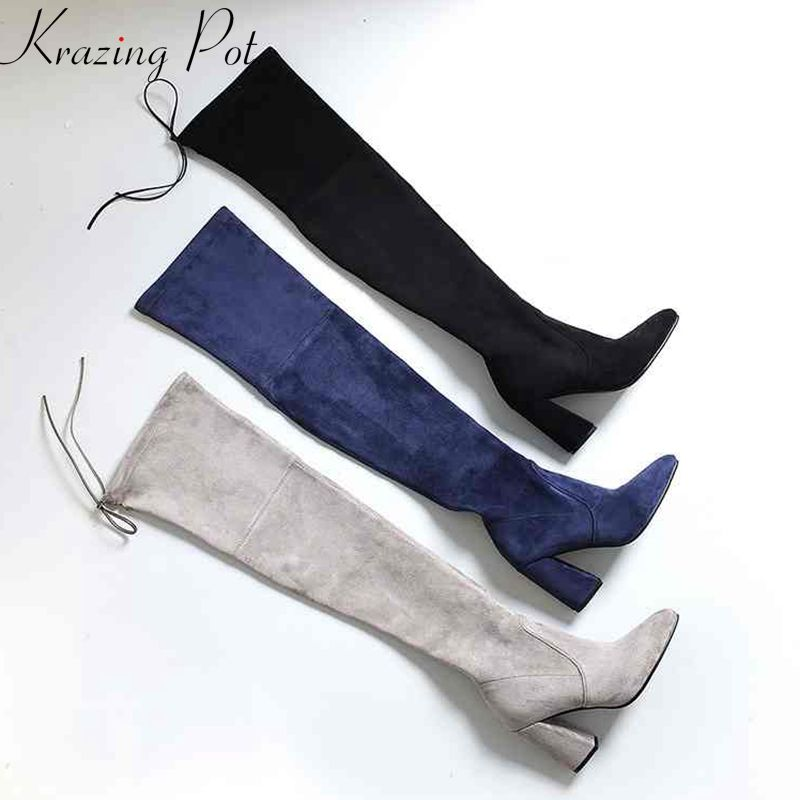 Krazing Pot fashion sheep suede flock stretch thigh high boots streetwear thin leg beauty lady riding over-the-knee boots L17