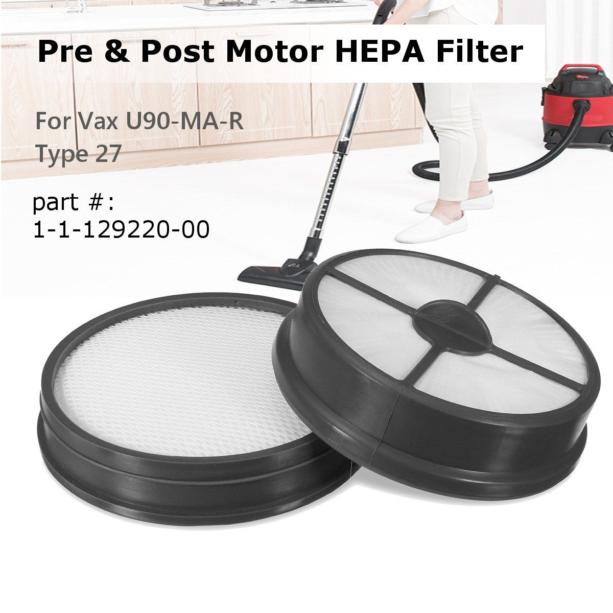 KROAK Type 27 Pre & Post Motor HEPA Filter Replacement For Vax Mach Air Vacuum Cleaner