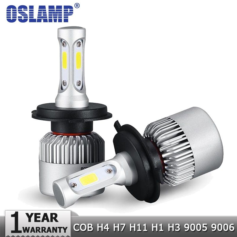 Oslamp H4 H7 H11 H1 H3 9005 9006 COB Car LED Headlight Bulbs Hi-Lo <font><b>Beam</b></font> 72W 8000LM 6500K Auto Headlamp Fog Light Bulb DC12v 24v