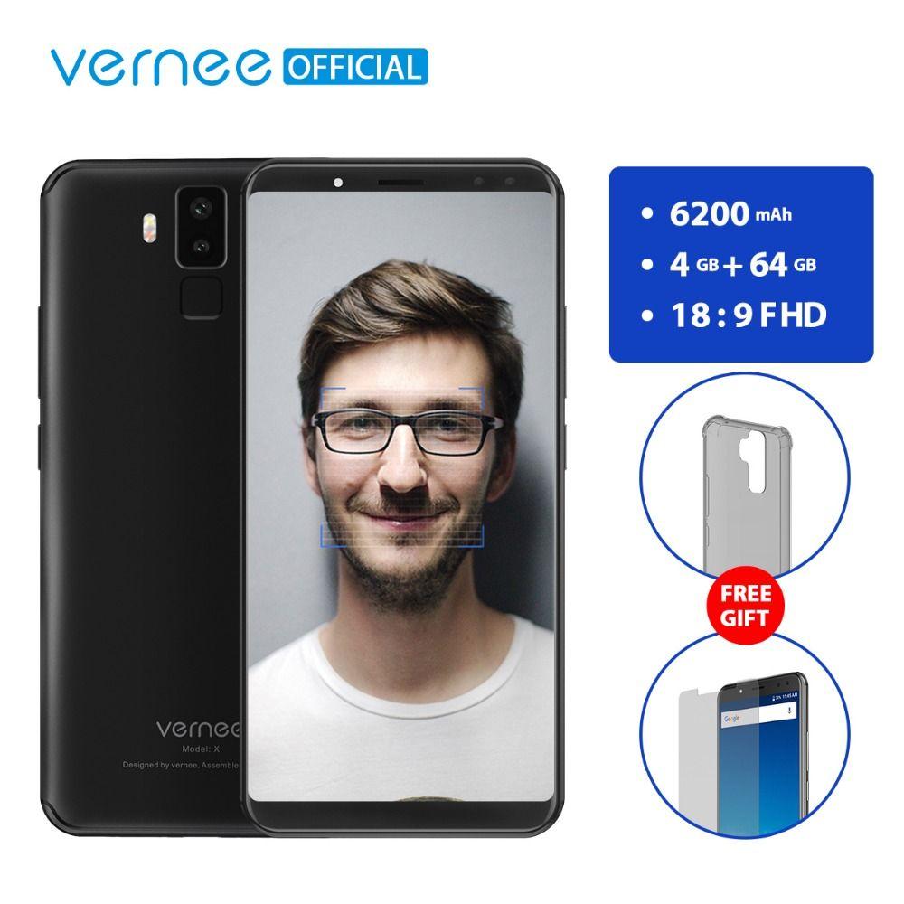Vernee X 6.0 Pouce 6200 mAh 18:9 FHD Smartphone 4G LTE Téléphone portable visage ID 4 GB RAM 64 GB ROM MTK6763 Octa Core 16.0 MP Mobile téléphone