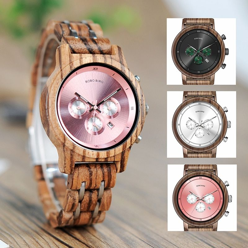 BOBO BIRD P18 Vogue Wooden Watches for Lovers Wood and Steel Combined Design with Stop Watch Three Colors Option