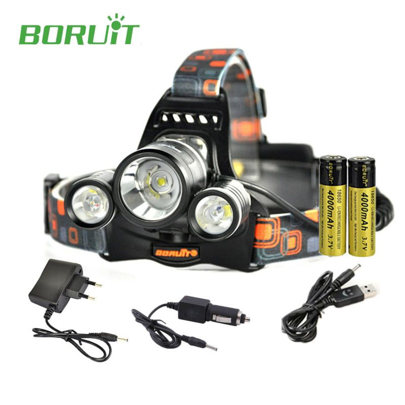 Boruit rj-5001 LED Headlamp rechargeable 6000LM 3 XM-L L2 Headlight USB Hiking Flashlight Head lamp with 18650 battery + Charger
