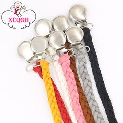 Leather Pacifier Clips Chain Dummy Clip Pacifier Holder Braided Binky Clip Nipple Holder Soother Chain For Infant Baby Feeding